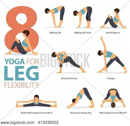 Infographic 8 Yoga Poses For Workout In Concept Of Leg Flexibility In Flat Design. Women Exercising