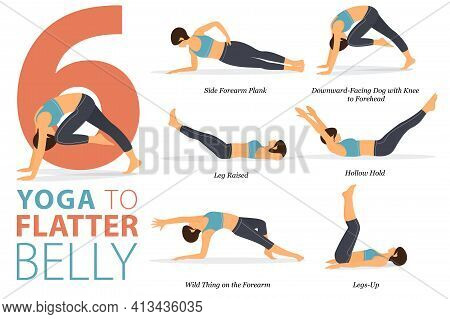 Infographic 6 Yoga Poses For Workout In Concept Of Flatter Belly In Flat Design. Women Exercising Fo