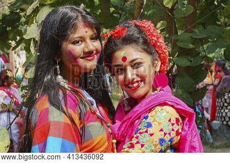 Kolkata, India - March 9th, 2020 : Beautiful Young Girls With Spring Festive Make Up , Smiling Expre
