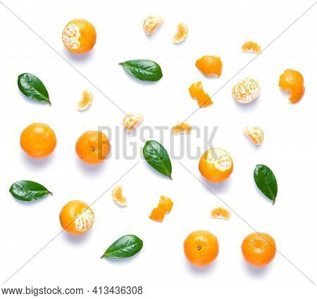 Set For Designer From Tangerine Pieces. Collection Whole And Half Mandarins And Tangerine's Peel For