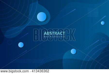 Modern Dark Blue Background.modern Geometric Background And Fluid Shapes Composition. Vector Illustr