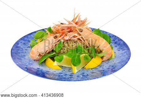 Freshly Cooked Whole Dublin Bay Prawns Also Known As Langoustine And Scampi On A Blue Plate Isolated