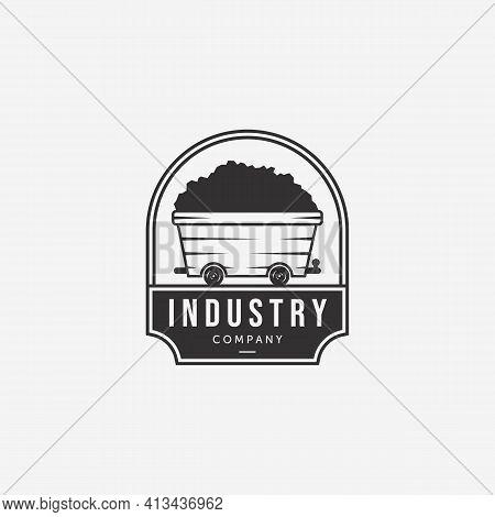 Badge Of Coal Mining Cart Vintage Logo Vector, Illustration Design Of Mine Trolley Concept, Emblem O