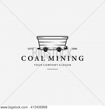 Simple Flat Mining Trolley Vintage Logo, Illustration Design Of Coal Mine Cart, Vector Of Coal Minin