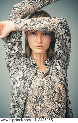 Fashion Woman In Trendy Clothes. Animal Print, Provocative Concept