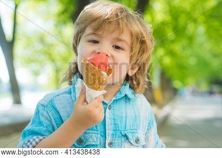 Kid Eat Icecream Outdoor. Kids Junk Food. Delicious Summer Ice Cream