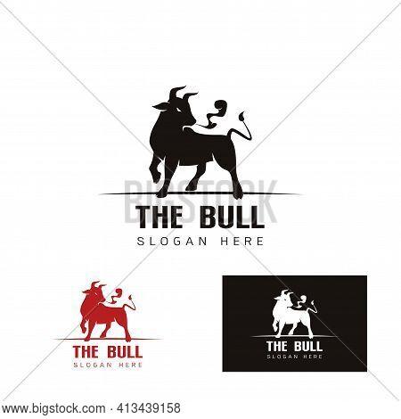 Elegant Image Of The Bull Logo Template , Bull Cow, Logo Design Concept On A White And Black Backgro
