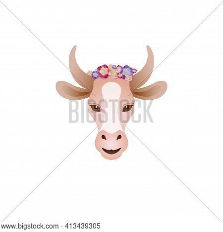 Vector Of Cute Cow Head With Chaplet Design On White Background. Farm Animal. Easy Editable Vector I