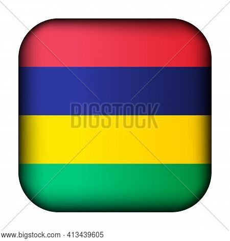 Glass Light Ball With Flag Of Mauritius. Squared Template Icon. Mauritian National Symbol. Glossy Re