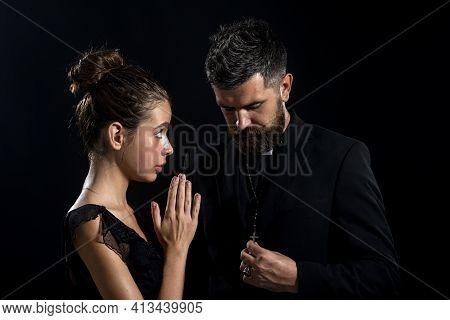 Seductive Monk. Priest Sin. Church Pastor With Sexy Nun.