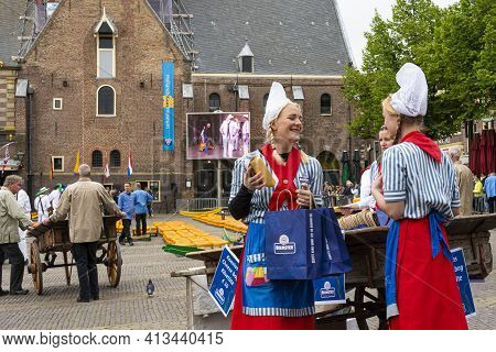 Alkmaar, Netherlands - May 18, 2018: Cheese Market Offering The Products