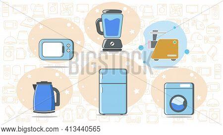 Kitchen Appliances Flat Icon Set With Gas Stove, Refrigerator, Blender