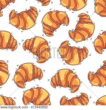 French Croissants Seamless Pattern. Vector Illustration.isolated Background.