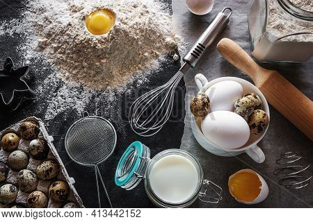 Baking Products And Utensils On A Black Background, Milk, Eggs, Flour