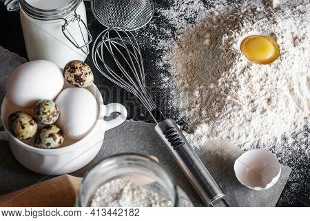 Flour With Egg And Utensils For Cooking And Baking