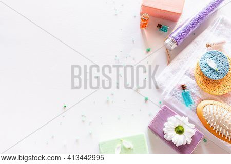 Home Made Natural Cosmetics On White Background With Place For Text