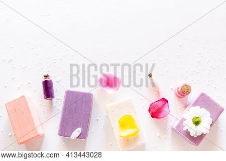 Home Made Soap Natural Cosmetics On White Background With Place For Text