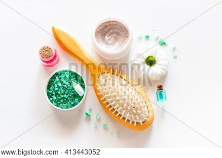 Natural Cosmetics, Comb, Skin And Body Care Concept