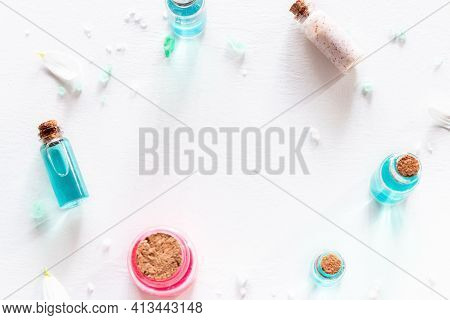 Frame From Samples Of Natural Cosmetics On White Background With Place For Text