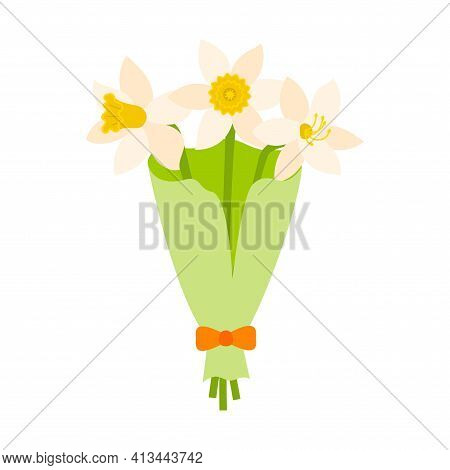 A Bouquet Of White Daffodils In Green Wrapping Paper With A Bow. Flat Style.isolated On A White Back