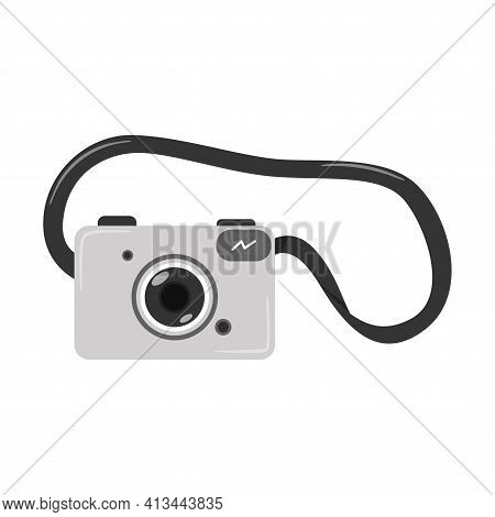 Grey Digital Slr Camera With Belt. Optical Electronic Equipment. A Symbol Of Travel, Vacation, Hobby