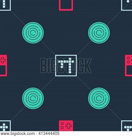 Set Tetris, Bingo And Checker Game Chips On Seamless Pattern. Vector