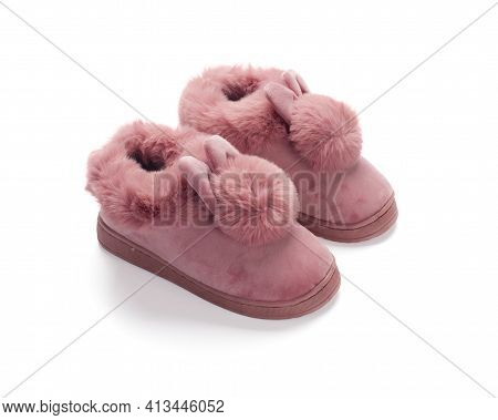 Pink Fluffy Shoes Isolated On White Background
