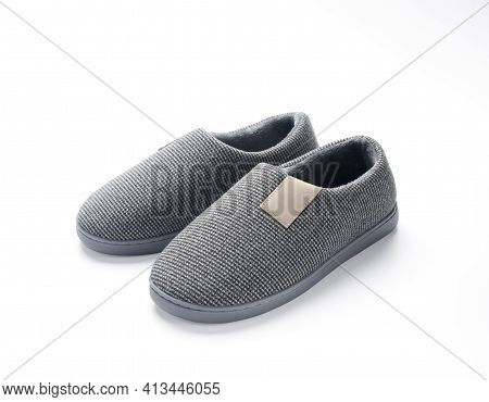 Gray Fluffy Shoes Isolated On White Background