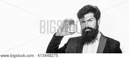 Perfume Or Cologne Bottle And Perfumery, Scent Cologne Bottle, Male Holding Cologne. Masculine Perfu