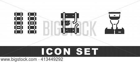 Set Railway, Railroad Track, Broken Rails On Railway And Train Conductor Icon. Vector