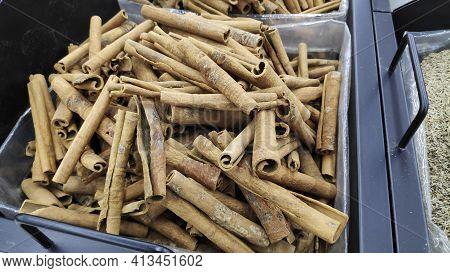 Bunch Of Cinnamon Sticks On Oriental Food Market