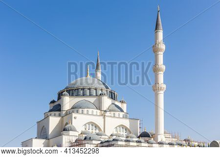 Dome And Minaret Of Sharjah Masjid Mosque, The New Sharjah Mosque, The Largest Mosque In The Emirate