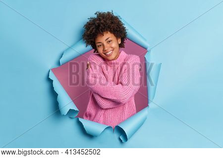 Pleased Romantic Happy Young Afro American Woman Embraces Herself Needs Feel Warmth And Love Recalls