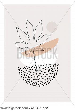 Modern Illustration With Tropical Palm Leaf One Line Art, Dots Texture, Minimal Geometric Shape
