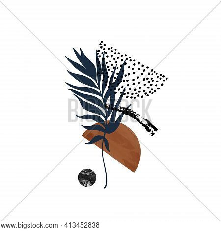 Abstract Palm Leaf And Geometric Shape Composition.