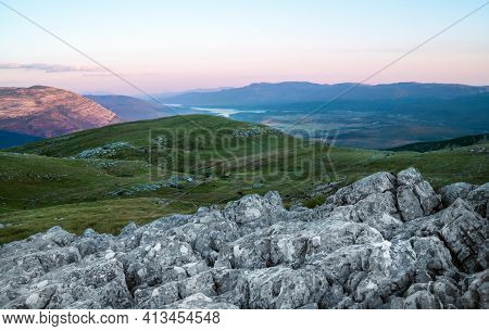 Hiking Trail Mark Painted On Rock. Landscape View From Sinjal Or Dinara (1831 M) Mountain -the Highe