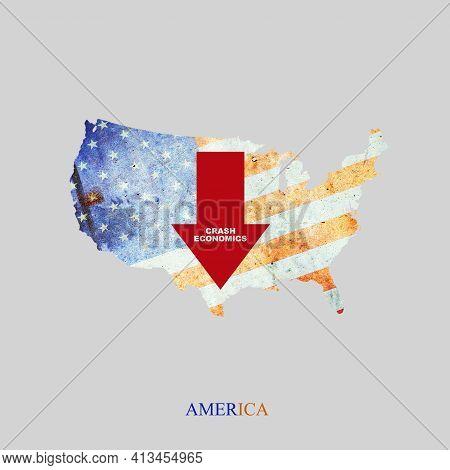 Crash Economics United States. Red Down Arrow On The Map Of America. Economic Decline. Downward Tren