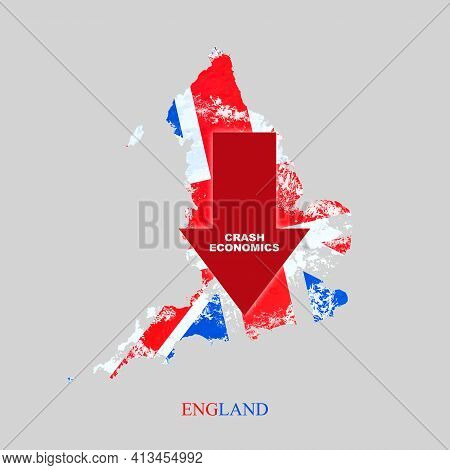 Crash Economics England. Red Down Arrow On The Map Of England. Economic Decline. Downward Trends In