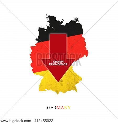 Crash Economics Germany. Red Down Arrow On The Map Of Germany. Economic Decline. Downward Trends In