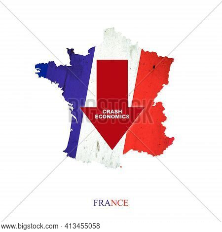 Crash Economics France. Red Down Arrow On The Map Of France. Economic Decline. Downward Trends In Th
