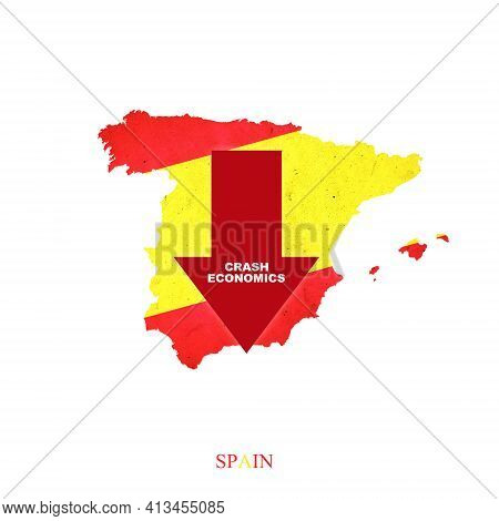Crash Economics Spain. Red Down Arrow On The Map Of Spain. Economic Decline. Downward Trends In The