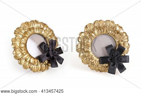 Golden Round Frame With Black Mourning Ribbon  In Frontal And Perspective View For Paintings, Mirror