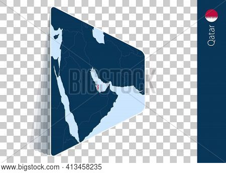 Qatar Map And Flag On Transparent Background. Highlighted Qatar On Blue Vector Map.