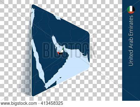 United Arab Emirates Map And Flag On Transparent Background. Highlighted United Arab Emirates On Blu