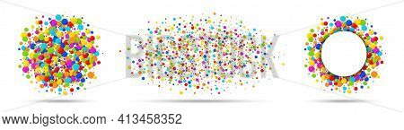 Confetti Circles Set. Rainbow Colors. Round Colorful Papers Isolated On White Background. Confetti F