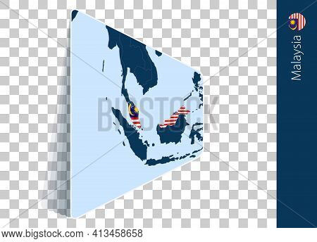 Malaysia Map And Flag On Transparent Background. Highlighted Malaysia On Blue Vector Map.