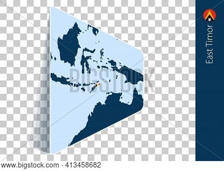 East Timor Map And Flag On Transparent Background. Highlighted East Timor On Blue Vector Map.