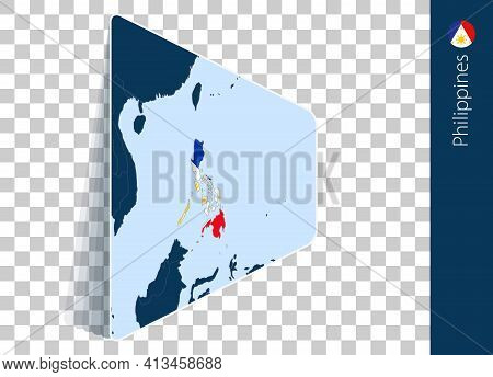 Philippines Map And Flag On Transparent Background. Highlighted Philippines On Blue Vector Map.