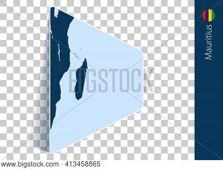 Mauritius Map And Flag On Transparent Background. Highlighted Mauritius On Blue Vector Map.