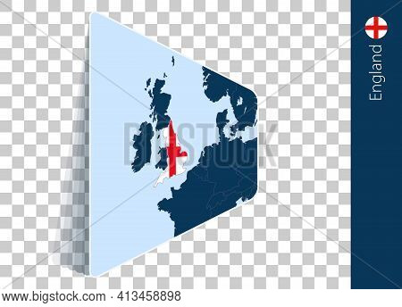 England Map And Flag On Transparent Background. Highlighted England On Blue Vector Map.